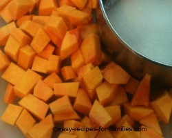 Dice the pumpkin into small cubes