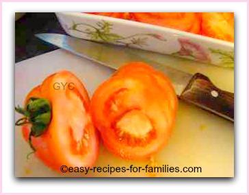 halve cherry tomatoes