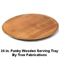 True Fabrications Wooden Serving Tray made from used wine oak barrels. (Used in wine production for 20 to 5 years). 24 inch diameter. CLICK HERE FOR MORE DETAILS.