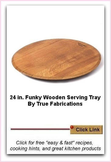 True Fabrications Wooden Serving Tray - 21.5 inch diameter. Made from used wine barrels that have been in wine production for 2 to 5 years