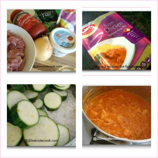 collage of photos to make this butter chicken receipe.