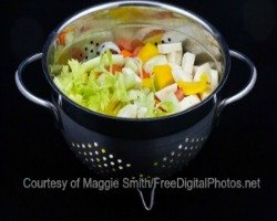 Soup vegetables for camping recipe of minestrone in a colander