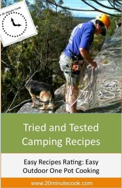 Easy Camping Recipes Infographic of man about to abseil with dog in background