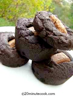 Chocolate Dessert Recipe - individual runny desserts centeered with a square of chocolate