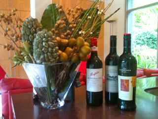 Wine and flowers for an easy dinner party menu