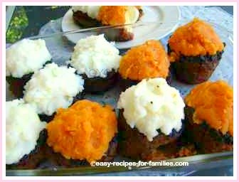 Made these muffins topped with mashed potato and yams with this easy ground beef recipe