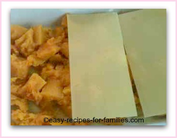 a layer of pumpkin and lasagne sheets for this easy lasagne