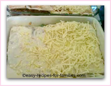 Top the easy lasagne with shredded cheese