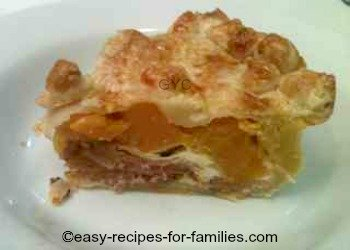 Slice of pie from the easy pumpkin pie pecipe