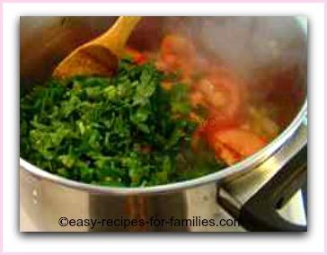 vegetables in a soup pot