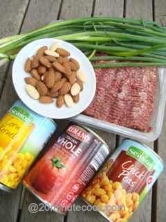 Ground Beef Salad ingredients.