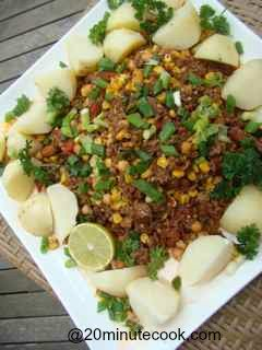 Ground Beef Recipe with boiled potatoes