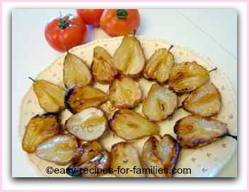 roasted pears on a serving platter