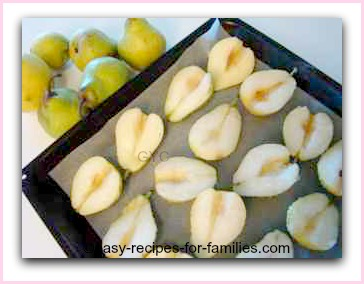 To make this healthy appetizer first roast the pears. here they are on a roasting tray.
