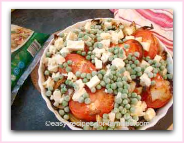 peas feta tomatoes onions in this healthy vegetarian recipe