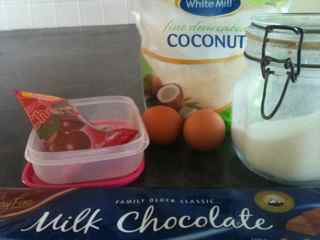 Homemade Candy Recipes - Chocolate Coconut Cherry Squares - Ingredients