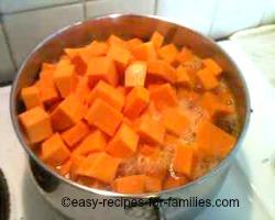 Boil pumpkin chunks in lots of sugared water