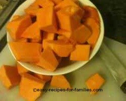 Cut the pumpkin into chunks
