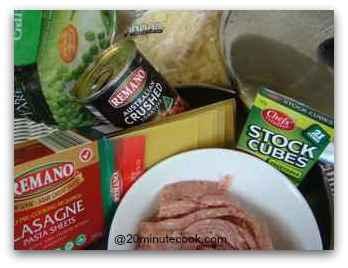 Ingredients for 20 minute lasagne