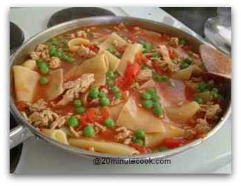 Add frozen peas to the meat sauce