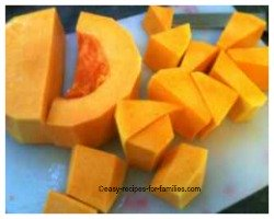 Remove seeds and cut up the pumpkin