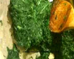 Spinach filling for an elegant pumpkin and spinach filo swirl.