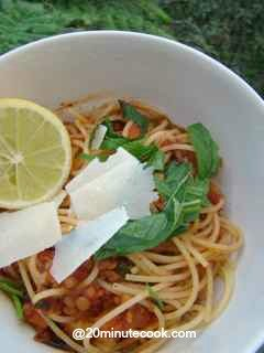 Lentil Spaghetti tossed with freshly shaved Parmesan Cheese and roughly chopped mint.