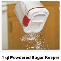 Progressive's Powdered Sugar Keeper. Holds 1 pound of powdered sugar. Includes a built in mesh dispenser and built in leveler. CLICK HERE FOR MORE DETAILS