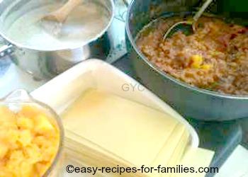 Cooked ingredients for pumpkin lasagne