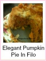 This pumpkin pie is made with filo pastry. Not so easy but not difficult either.